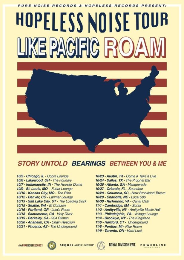Roam tour poster w Like Pacific